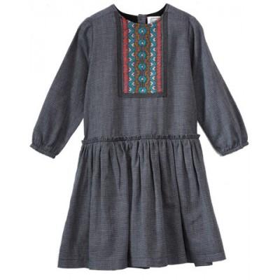 Robe brodée à carreaux  Twist Bleue/Blanche