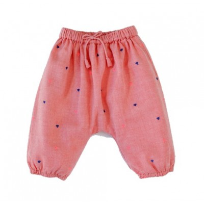 Pantalon brodé pois Willy Triangles Orange/Rose