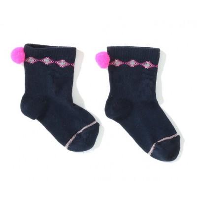 Chaussettes avec pompon Mila Socks navy/rose fluo