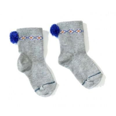 Chaussettes avec pompon  Mila Socks gris/bleu