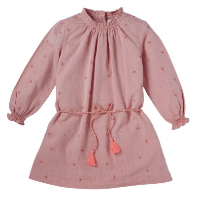 Robe brodée Agathe orange/pink