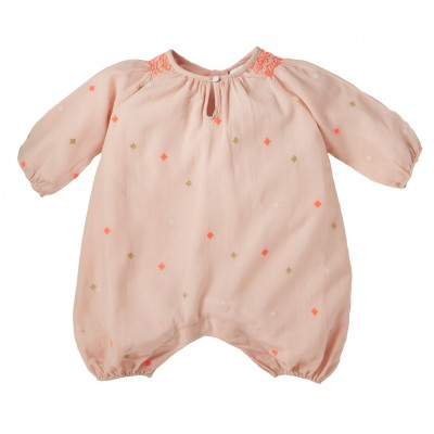 Embroidered overall Meline light pink