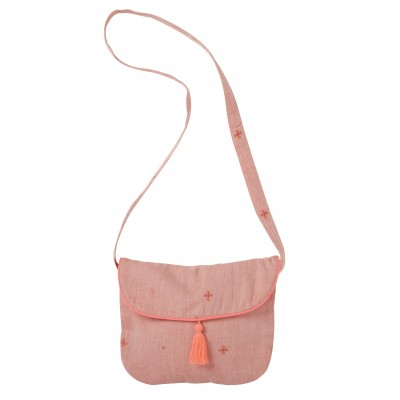 Sac brodé  Sia bag fleur orange/rose