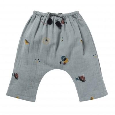Pantalon imprimé céleste et étoiles Cosmic bleu gris