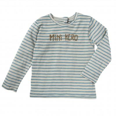 Tee-shirt rayé Otto écru et bleu