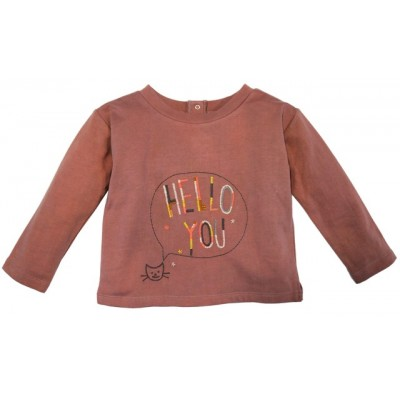 Embroidered fleece sweatshirt Hello You Old Pink