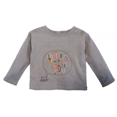 Embroidered fleece sweatshirt Hello You Grey