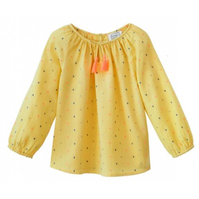 Embroidered blouse Pompon Dots Yellow