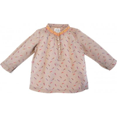 Printed blouse Lapili Feathers Beige