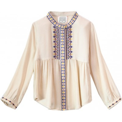 Embroidered shirt Thais Ecru/Pink