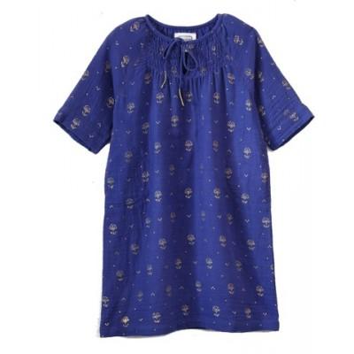 Robe imprimée fleurs Jaipur Bleue