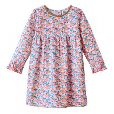 Printed dress Ina Flowers Pink/Ecru