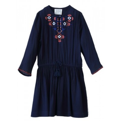 Embroidered dress Heloise Navy