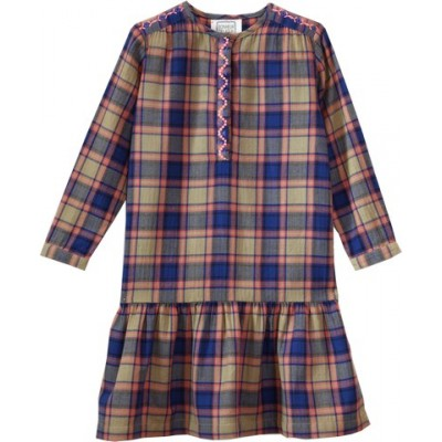 Dress in checks with embroideries College Beige/Blue/Pink