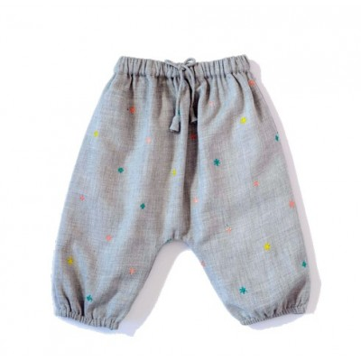 Embroidered pants Willy Flowers Grey