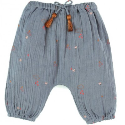 Embroidered and printed pants Willy Clouds Grey