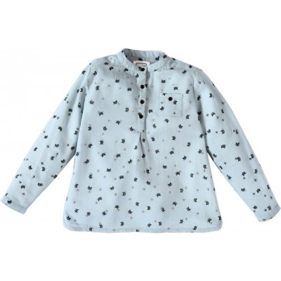 Printed cats kurta shirt Marcus blue