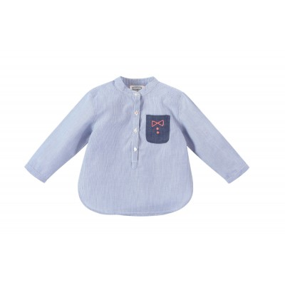 Boys kurta shirt with stripes Melon blue/white