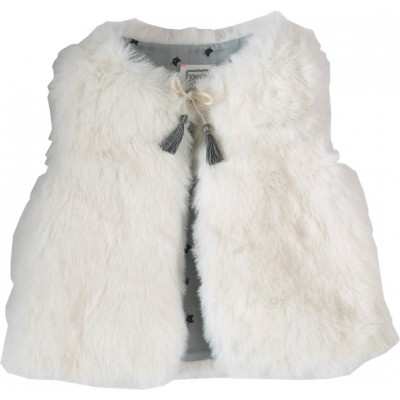 Fake fur sleeveless jacket Teddy Cat ecru