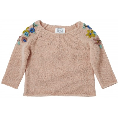 Pull brodé Adele rose
