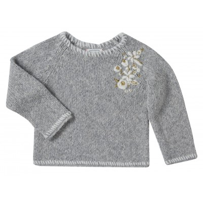 Embroidered pullover Astrid grey