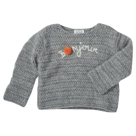 Embroidered pullover Bonjour grey