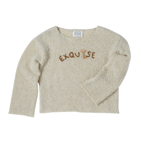 Embroidered pullover Exquise ecru/gold