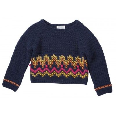 Embroidered pullover Amy navy