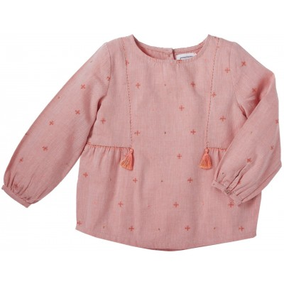 Embroidered blouse Juliette orange/pink