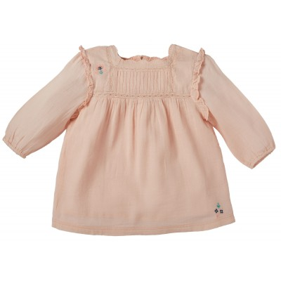 Embroidered dress Gaelle pink