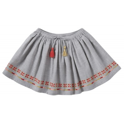 Embroidered skirt Scarlett mixed grey