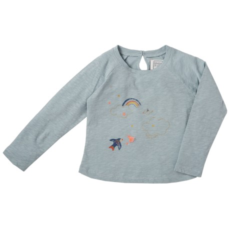 Embroidered tee shirt Rainbow blue