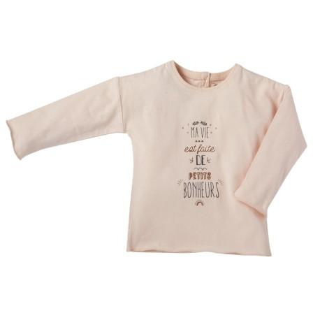 Printed tee shirt Petits bonheurs light pink