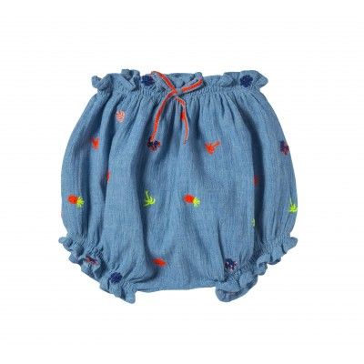 Embroidery baby bloomer Alice Blue