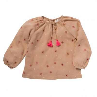 Embroidered blouse Pompon pink