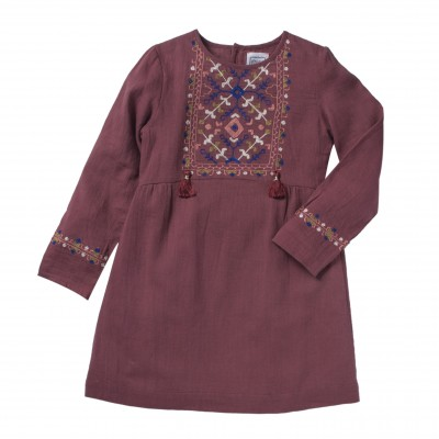 Embroidered dress Baboushka rapsberry