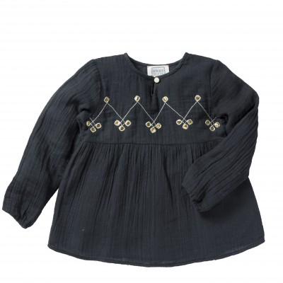 Embroidered blouse Chiara grey