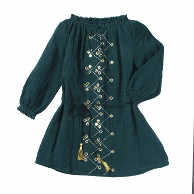 Embroidered dress Ornella green