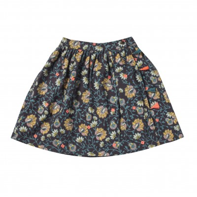 Skirt with flowers print and pompons Stella flowers