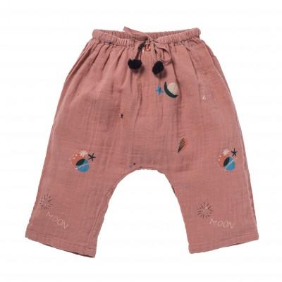 Pantalon imprimé céleste et étoiles Cosmic rose