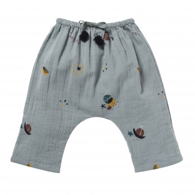 Celestial and stars printed pants Cosmic grey blue