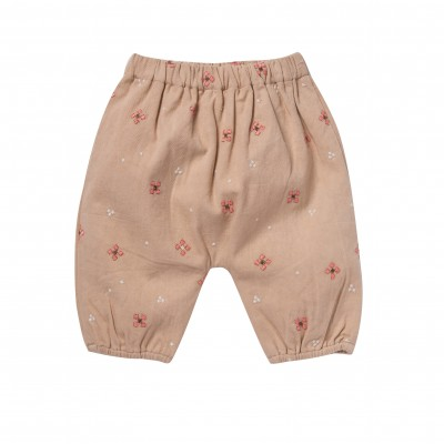 Pantalon brodé Willy girl rose