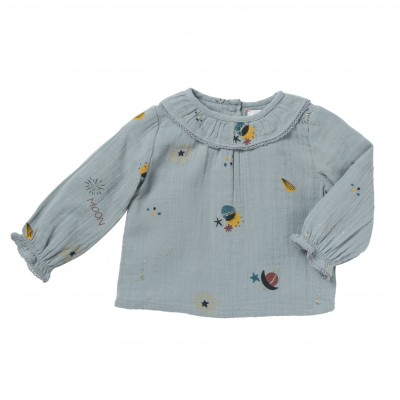 Printed blouse celestial and stars Mercure grey blue
