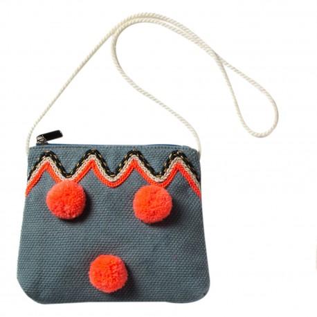 Bag with pompons Badia blue