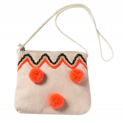 Bag with pompons Badia ecru