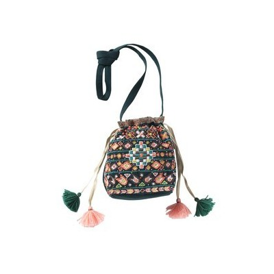 Bucklet bag with embroideries Baobab green