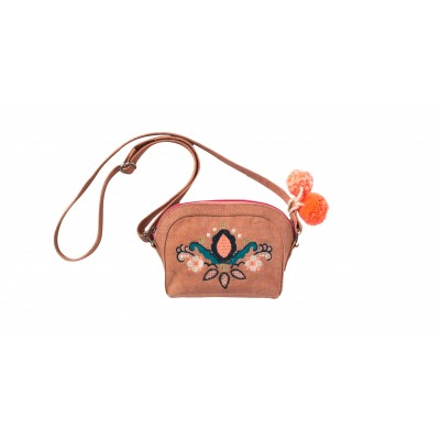 Bag with embroidery and pompons Calina pink