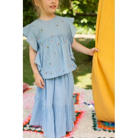 Embroidered blouse with frills Bleuet blue