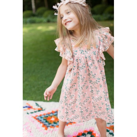 Printed dress with frills Luce pink coral