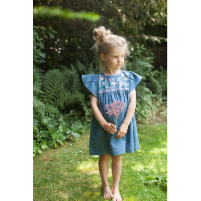 Embroidered dress Cutie indigo denim